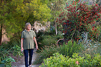 Jo O'Connell walking through her Australian Native Plant Nursery, Ventura, California