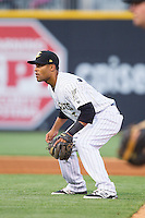 Charlotte Knights second baseman Micah Johnson (3) on defense against the Norfolk Tides at BB&T Ballpark on May 21, 2014 in Charlotte, North Carolina.  The Tides defeated the Knights 10-3.  (Brian Westerholt/Four Seam Images)