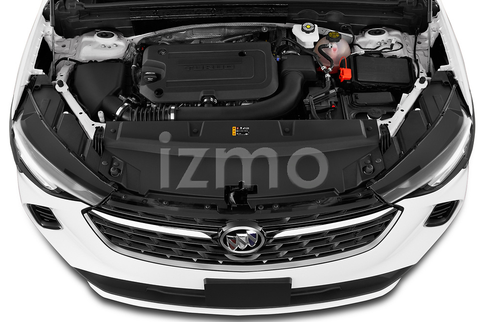 High angle engine detail of a 2021 Buick Envision Essence 5 Door SUV