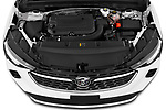 Car Stock 2021 Buick Envision Essence 5 Door SUV Engine  high angle detail view