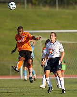 Darren Toby of the Charlotte Eagles heads the ball during a match against the Bolton Wanderers.  The Charlotte Eagles currently in 3rd place in the USL second division played a friendly against the Bolton Wanderers from the English Premier League losing 3-0.