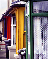 Colorful town house windows, Ireland