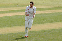 Matt Salisbury of Durham celebrates taking the wicket of Daniel Lawrence during Essex CCC vs Durham CCC, LV Insurance County Championship Group 1 Cricket at The Cloudfm County Ground on 15th April 2021