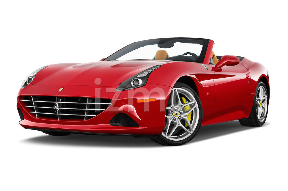 Stock pictures of low aggressive front three quarter view of 2015 Ferrari California T 2 Door Convertible Low Aggressive