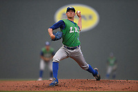 Starting pitcher Garrett Davila (19) of the Lexington Legends delivers a pitch in a game against the Greenville Drive on Friday, June 30, 2017, at Fluor Field at the West End in Greenville, South Carolina. Lexington won, 17-7. (Tom Priddy/Four Seam Images)