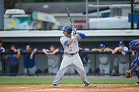 Bluefield Blue Jays designated hitter Dave Pepe (1) at bat against the Burlington Royals at Burlington Athletic Park on July 1, 2015 in Burlington, North Carolina.  The Royals defeated the Blue Jays 5-4. (Brian Westerholt/Four Seam Images)