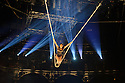 "London, UK. 14.04.2015. Circolombia presents ""Acelere"" at the Roundhouse. Picture shows: Julia Sanchez Aja on the Cloud Swing. Photograph © Jane Hobson."