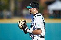 Coastal Carolina Chanticleers first baseman Zack Beach (16) on defense against the Illinois Fighting Illini at Springs Brooks Stadium on February 22, 2020 in Conway, South Carolina. The Fighting Illini defeated the Chanticleers 5-2. (Brian Westerholt/Four Seam Images)