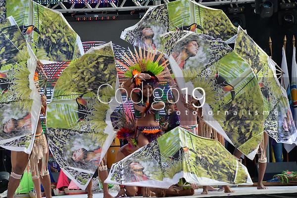 NOVA PETRÓPOLIS, RS, 02.08.2019:  47. FESTIVAL INTERNACIONAL DE FOLCLORE - A Companhia Trilhas da Amazônia, do Pará, durante apresentação na 47. edição do Festival Internacional de Folclore de Nova Petrópolis/RS, na Serra Gaúcha, nesta sexta-feira (02). (Foto: Donaldo Hadlich/(Código19)