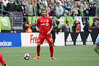 SEATTLE, WA - NOVEMBER 10: Auro Jr. #96 of Toronto FC looks for an open teammate during a game between Toronto FC and Seattle Sounders FC at CenturyLink Field on November 10, 2019 in Seattle, Washington.