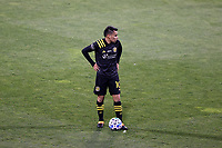 COLUMBUS, OH - DECEMBER 12: Lucas Zelarayan #10 of the Columbus Crew stands over a free kick during a game between Seattle Sounders FC and Columbus Crew at MAPFRE Stadium on December 12, 2020 in Columbus, Ohio.