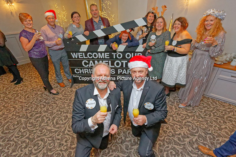 Pictured: Nigel Willett (FRONT RIGHT) with other lottery millionaires. Wednesday 28 November 2018<br /> Re: National Lottery millionaires from south Wales and the south west of England have hosted a glitzy Rat Pack-inspired Christmas party for an older people's music group at The Bear Hotel in Cowbridge, Wales, UK.