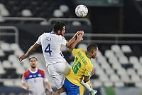 2nd July 2021; Nilton Santos Stadium, Rio de Janeiro, Brazil; Copa America, Brazil versus Chile; Renan Lodi of Brazil beaten to the header by Mauricio Isla of Chile