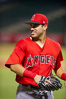 AZL Angels right fielder Francisco Del Valle (4) jogs off the field between innings of the game against the AZL White Sox on August 14, 2017 at Diablo Stadium in Tempe, Arizona. AZL Angels defeated the AZL White Sox 3-2. (Zachary Lucy/Four Seam Images)