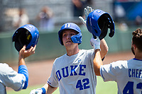 Duke Blue Devils third baseman Erikson Nichols (42) celebrates a home run against the Wright State Raiders in NCAA Regional play on Robert M. Lindsay Field at Lindsey Nelson Stadium on June 5, 2021, in Knoxville, Tennessee. (Danny Parker/Four Seam Images)