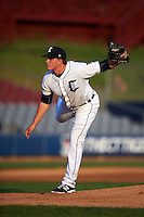 Connecticut Tigers pitcher Josh Heddinger (24) follows through on a pitch during the first game of a doubleheader against the Brooklyn Cyclones on September 2, 2015 at Senator Thomas J. Dodd Memorial Stadium in Norwich, Connecticut.  Brooklyn defeated Connecticut 7-1.  (Mike Janes/Four Seam Images)