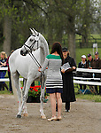 LEXINGTON, KY - APRIL 27: #8 Landmark's Monte Carlo and rider Lauren Kieffer,  jog before the vets and grand jury during the first horse inspection for the Rolex Three Day Event on Wednesday April 27, 2016 in Lexington, Kentucky. (Photo by Candice Chavez/Eclipse Sportswire/Getty Images)
