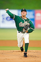Greensboro Grasshoppers starting pitcher Daniel Oliver (18) in action against the Kannapolis Intimidators at CMC-Northeast Stadium on July 13, 2013 in Kannapolis, North Carolina.  The Intimidators wore throwback jerseys of the Piedmont Boll Weevils, who played in Kannapolis from 1996-2000.   (Brian Westerholt/Four Seam Images)
