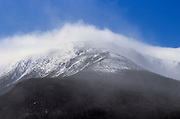 The eastern slope of Mount Washington in the New Hampshire White Mountains during an extremely windy winter day.