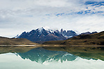 Mountains reflected in saline lake, Amarga Lagoon, Torres del Paine, Torres del Paine National Park, Patagonia, Chile