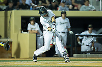 Keegan Maronpot (13) of the Wake Forest Demon Deacons makes contact with the baseball West Virginia Mountaineers in Game Four of the Winston-Salem Regional in the 2017 College World Series at David F. Couch Ballpark on June 3, 2017 in Winston-Salem, North Carolina.  The Demon Deacons walked-off the Mountaineers 4-3.  (Brian Westerholt/Four Seam Images)