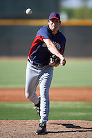 Cleveland Indians minor league pitcher James Stokes #58 during an instructional league game against the Cincinnati Reds at the Goodyear Training Complex on October 8, 2012 in Goodyear, Arizona.  (Mike Janes/Four Seam Images)
