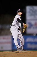 Hickory Crawdads relief pitcher Joe Palumbo (25) in action against the Kannapolis Intimidators at Kannapolis Intimidators Stadium on April 8, 2016 in Kannapolis, North Carolina.  The Crawdads defeated the Intimidators 8-2.  (Brian Westerholt/Four Seam Images)