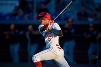 Auburn Doubledays third baseman Andres Martinez (5) follows through on a swing during a game against the Connecticut Tigers on August 8, 2017 at Falcon Park in Auburn, New York.  Auburn defeated Connecticut 7-4.  (Mike Janes/Four Seam Images)