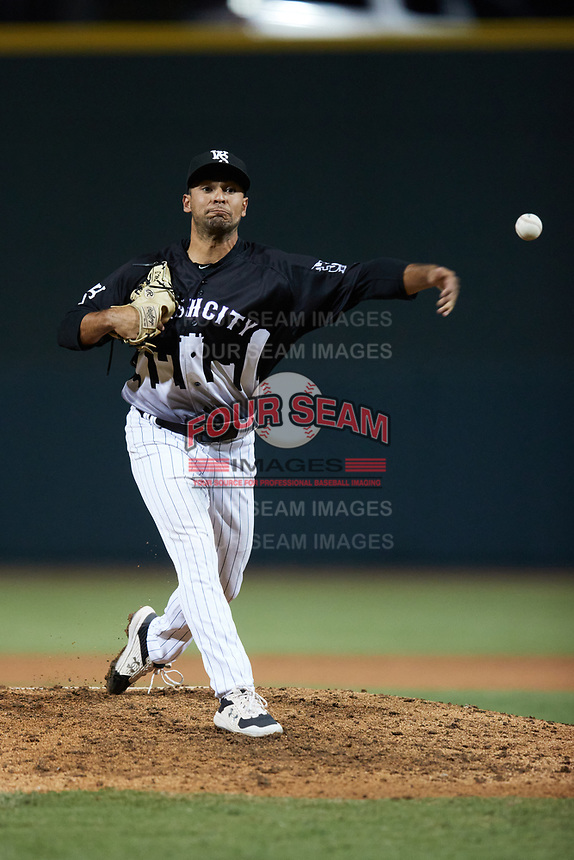 Winston-Salem Dash relief pitcher Ty Madrigal (20) in action against the Asheville Tourists at Truist Stadium on September 17, 2021 in Winston-Salem, North Carolina. (Brian Westerholt/Four Seam Images)