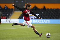 10th October 2020, The Hive, Canons Park, Harrow, England; Tobin Heath Manchester United, ManU shoots in the warm up during for womens Super League game between Tottenham Hotspur and Manchester United