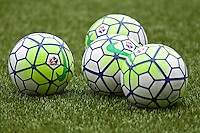 Portland, Oregon - Sunday May 29, 2016: Soccer balls. The Portland Thorns play the Seattle Reign during a regular season NWSL match at Providence Park.