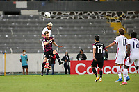 GUADALAJARA, MEXICO - MARCH 24: Julian Araujo #2 of the United States goes up for a header with Jesus Ricardo Angulo #19 of Mexico during a game between Mexico and USMNT U-23 at Estadio Jalisco on March 24, 2021 in Guadalajara, Mexico.