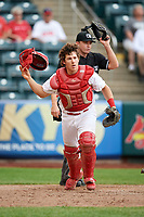 Springfield Cardinals catcher Jesse Jenner (43) in front of home plate umpire Sean Allen during a game against the San Antonio Missions on June 4, 2017 at Hammons Field in Springfield, Missouri.  San Antonio defeated Springfield 6-1.  (Mike Janes/Four Seam Images)