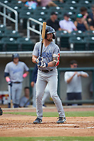 Aaron Whitefield (2) of the Pensacola Blue Wahoos at bat against the Birmingham Barons at Regions Field on July 7, 2019 in Birmingham, Alabama. The Barons defeated the Blue Wahoos 6-5 in 10 innings. (Brian Westerholt/Four Seam Images)