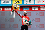 Tadej Pogacar (SLO) UAE Team Emirates retains the mountains jersey at the end of Stage 4 of the Itzulia Basque Country 2021, running 189.2km from Vitoria-Gasteiz to Hondarribia, Spain. 8th April 2021.  <br /> Picture: Luis Angel Gomez/Photogomezsport | Cyclefile<br /> <br /> All photos usage must carry mandatory copyright credit (© Cyclefile | Luis Angel Gomez/Photogomezsport)