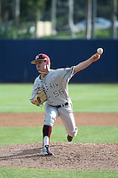 Kaylor Chafin (56) of the Texas A&M Aggies pitches against the Pepperdine Waves at Eddy D. Field Stadium on February 26, 2016 in Malibu, California. Pepperdine defeated Texas A&M, 7-5. (Larry Goren/Four Seam Images)