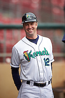 Cedar Rapids Kernels manager Jake Mauer (12) before the first game of a doubleheader against the Kane County Cougars on May 10, 2016 at Perfect Game Field in Cedar Rapids, Iowa.  Kane County defeated Cedar Rapids 2-0.  (Mike Janes/Four Seam Images)