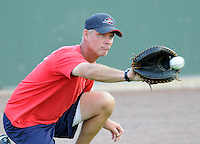 August 25, 2009: Pitching coach Bob Kipper (13) of the Greenville Drive, Class A affiliate of the Boston Red Sox, in a game at Fluor Field at the West End in Greenville, S.C. Photo by: Tom Priddy/Four Seam Images
