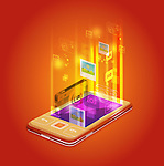 Illustrative image of mobile phone representing photo applications over red background