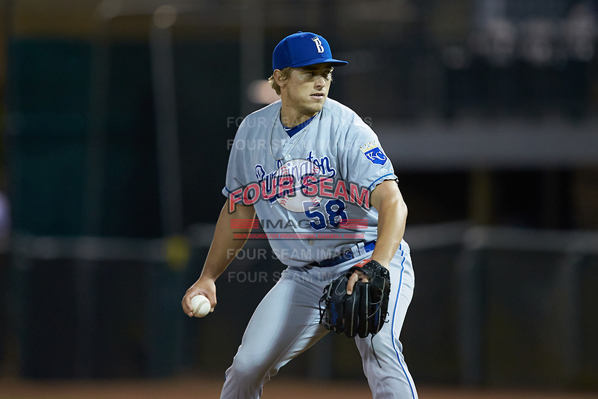 Burlington Royals relief pitcher Jonah Dipoto (58) in action against the Pulaski Yankees at Calfee Park on September 1, 2019 in Pulaski, Virginia. The Royals defeated the Yankees 5-4 in 17 innings. (Brian Westerholt/Four Seam Images)