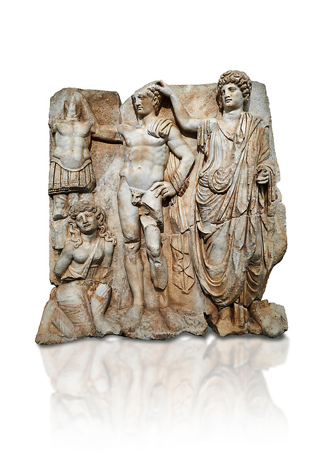 """Roman Sebasteion relief  sculpture of the Emperor and Roman People, Aphrodisias Museum, Aphrodisias, Turkey.  Against a white background. <br /> <br /> The emperor is a naked warrior and is crowned by a personification of the Roman People or the Senate wearing a toga, the stately civilian dress of a Roman Citizen. The crown is an oak wreath, the corona civica or """"civic crown"""" awarded for saving citizens lives. The emperor is setting up a battlefield trophy beneath which kneels an anguished barbarian women captive"""