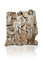 "Roman Sebasteion relief  sculpture of the Emperor and Roman People, Aphrodisias Museum, Aphrodisias, Turkey.  Against a white background. <br /> <br /> The emperor is a naked warrior and is crowned by a personification of the Roman People or the Senate wearing a toga, the stately civilian dress of a Roman Citizen. The crown is an oak wreath, the corona civica or ""civic crown"" awarded for saving citizens lives. The emperor is setting up a battlefield trophy beneath which kneels an anguished barbarian women captive"