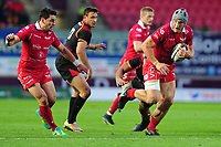 Jonathan Davies of Scarlets in action during the Guinness Pro14 Round 5 match between Scarlets and Isuzu Southern Kings at the Parc Y Scarlets in Llanelli, Wales, UK. Saturday 29 September 2018