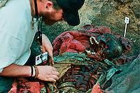 SAN MARTIN JILOTEPEQUE / CHIMALTENANGO/ GUATEMALA - 2004.ESUMAZIONE DELLE VITTIME UCCISE DAGLI SQUADRONI DELLA MORTE DURANTE GLI ANNI '80..UN ANOTOMO-PATOLOGO AL LAVORO NELLA FOSSA COMUNE..FOTO LIVIO SENIGALLIESI