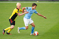 Will Hughes of Watford and Eric Garcia of Man City during the Premier League match between Watford and Manchester City at Vicarage Road, Watford, England on 21 July 2020. Football Stadiums around remain empty due to the Covid-19 Pandemic as Government social distancing laws prohibit supporters inside venues resulting in all fixtures being played behind closed doors until further notice.<br /> Photo by Andy Rowland.