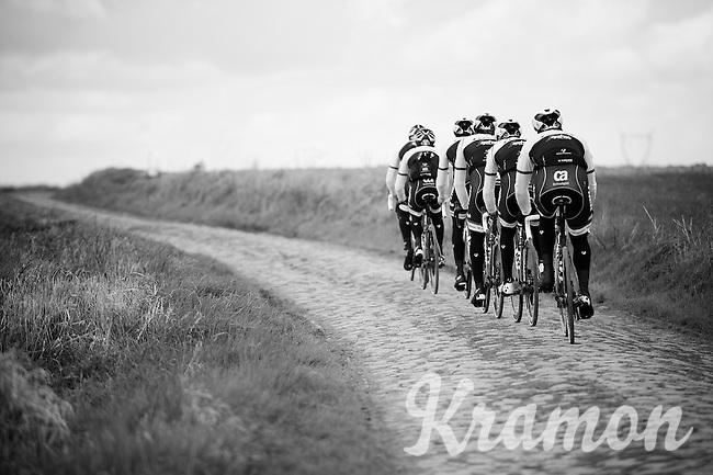 Team Trek-Segafredo during recon of the 114th Paris - Roubaix 2016