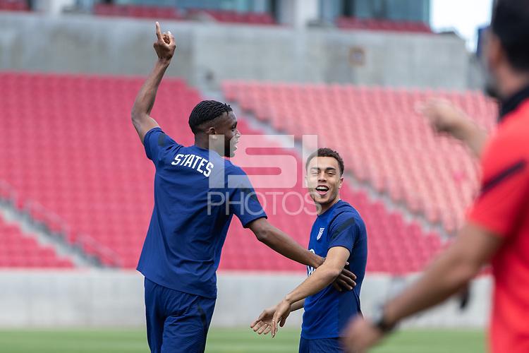 SANDY, UT - JUNE 8: Jordan Siebatcheu Sergino Dest of the United States during a training session at Rio Tinto Stadium on June 8, 2021 in Sandy, Utah.