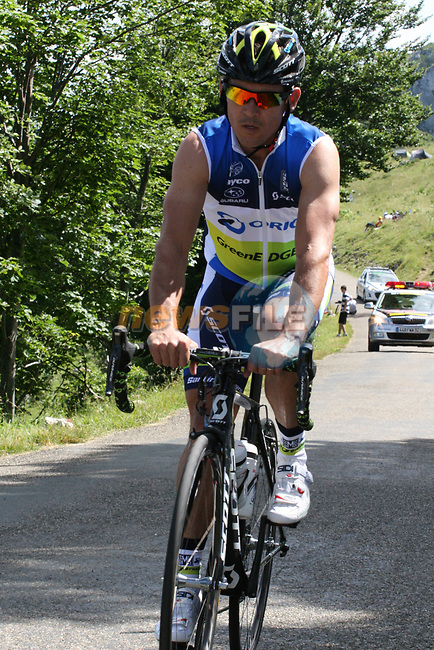 Robbis McEwen (AUS) Orica-GreenEdge climbs Col du Grand Colombier during Stage 10 of the 99th edition of the Tour de France 2012, running 194.5km from Macon to Bellegarde-sur-Valserine, France. 11th July 2012.<br /> (Photo by Thomas van Bracht/NEWSFILE)