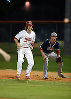 Lake Mary Rams shortstop Brendan Rodgers (3) leads off first behind first baseman Paxton Rigby (22) during a game against the Lake Brantley Patriots on April 2, 2015 at Allen Tuttle Field in Lake Mary, Florida.  Lake Brantley defeated Lake Mary 10-5.  (Mike Janes/Four Seam Images)