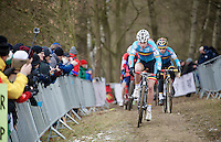 Jappe Jaspers (BEL) leading the race in lap 1<br /> <br /> Men Juniors Race<br /> <br /> 2015 UCI World Championships Cyclocross <br /> Tabor, Czech Republic